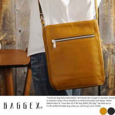 BAGGEX 本革ショルダーバッグ メンズ 日本製 B5 縦型 薄マチ