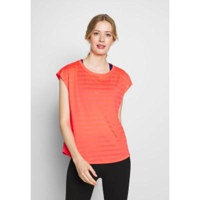 イーブン アンド オド レディース Tシャツ トップス Print T-shirt - coral coral