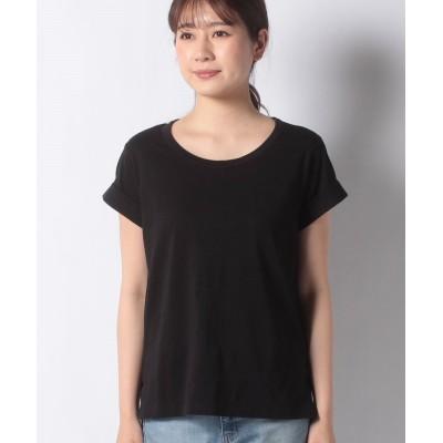 【シスレー】 ボクシーフィットラウンドネックTシャツ・カットソー レディース ブラック XS (国内S相当) SISLEY