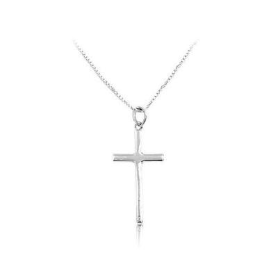 即納 クロスネックレス 9 シンプル クロス 刻印 シルバー925 ハンドメイド チェーン 十字架