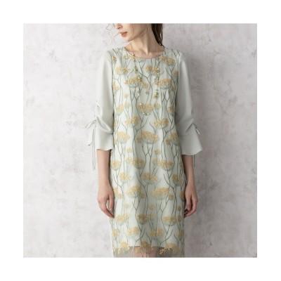 (Rose Tiara(L SIZE)/ローズティアラ エルサイズ)シャーリングスリーブミモザ刺繍ワンピース/レディース グリーン