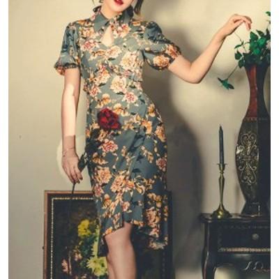 レディース ワンピース ミディアム 春夏 マーメイド チャイナ風 花柄 プリント フラワー 半袖 襟付き グリーン レトロ エレガント ドレス