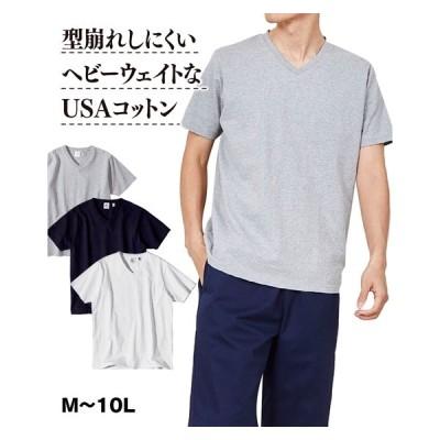Tシャツ カットソー メンズ ヘビーウェイト USAコットン Vネック 半袖 M/L/LL ニッセン nissen