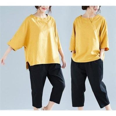 パーカー tシャツ トップス 夏 着痩せ ドルマンスリーブ 大きいサイズ 個性的 カジュアル 体型カバー 可愛い ゆったり 大人 レディース うわぎ