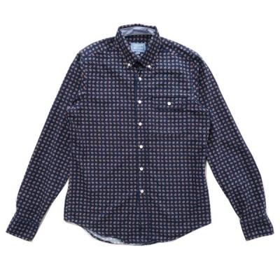 GANT ガント ペイズリー ボタンダウンシャツ 総柄 ネイビー サイズ表記:M