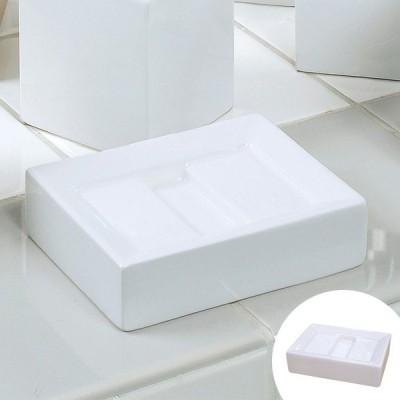 石鹸置き 石けん置き ホワイトキューブ ソープディッシュ ( 石鹸皿 石けん皿 洗面用品 )