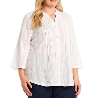 ルビーロード レディース シャツ トップス Plus Size Solid Textured Stripe Cotton Stand Collar Pintuck Detail 3/4 Flare Sleeve Button Front Top White