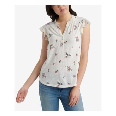 レディース 衣類 トップス Women's Top Medium Knit Floral Flutter Sleeve M ブラウス&シャツ