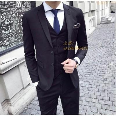 ビジネススーツ スリムスーツ 通勤 二次会 カジュアルスーツ おしゃれ 3点セット 結婚式 高級感 メンズスーツ 忘年会 パーティー メンズ 3ピース 大きいサイズ