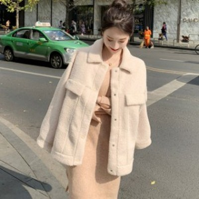 ボアブルゾン もこもこ 厚い ブルゾン カジュアル アウター 韓国 ファッション オルチャン レディース ボアコート ボアジャケット