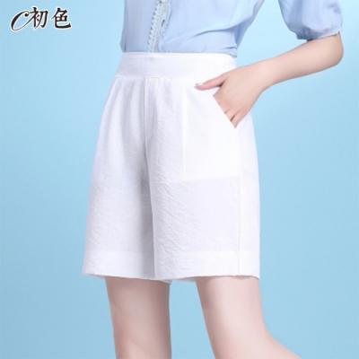 初色  休閒冰絲清涼短褲-共4色-(M-2XL可選)