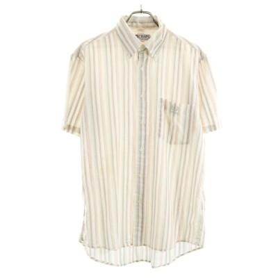チャップス ストライプ 半袖 ボタンダウンシャツ L ベージュ系 CHAPS ボタンダウン BD メンズ 古着 200709 メール便可 【Pdown50】