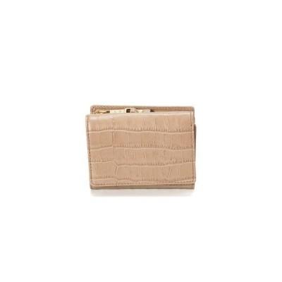 トプカピ TOPKAPI クロコ型押しレザー三つ折り財布 Cocco コッコ (グレージュ)