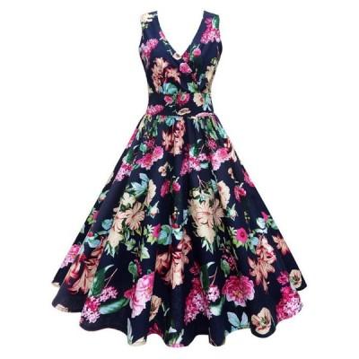 レディースドレス 女性用 大きい花柄 ノースリーブ ワンピース  膝丈 パーティー
