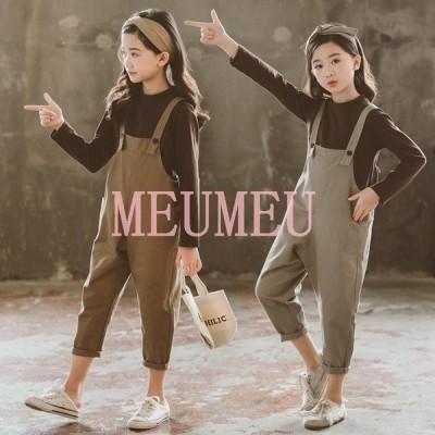 韓国子供服 2点セット 春秋 カジュアル ナチュラル tシャツ ズボン 長袖 オールインワン 切り替え セットアップ ゆったり リゾート 女子 キッズ 可愛い