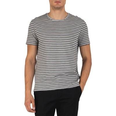 エーティーエム メンズ Tシャツ トップス Short Sleeve Striped Crew Neck Shirt GREY/BLACK