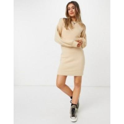 エイソス レディース ワンピース トップス ASOS DESIGN fluffy mini dress in taupe Taupe