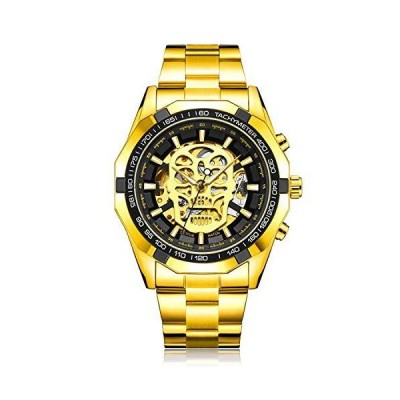 腕時計 メンズ スケルトン 自動機械式 SIBOSUN スチームパンク スカル ステンレススチール アナログ ブラック ゴールド Gold Black