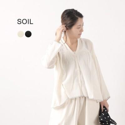 SOIL(ソイル) フライフロント ギャザーシャツ / レディース / コットン ボイル / 長袖