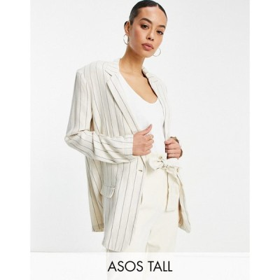 エイソス ASOS Tall レディース スーツ・ジャケット アウター ASOS DESIGN Tall washed single breasted 3 piece linen suit blazer in stripe ストライプ