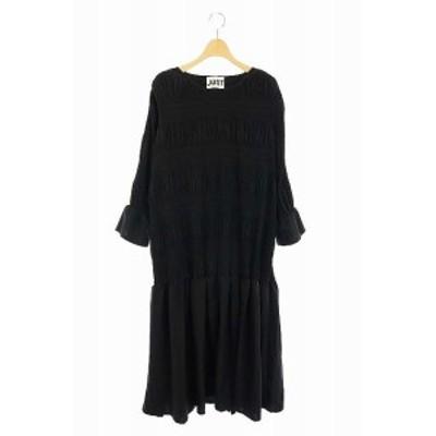 【中古】スピック&スパン ジャスト JUST 20AW シャーリングドレス ワンピース 裾フレア ロング 長袖 S 黒 レディース