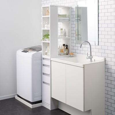 収納物が取り出しやすい3面オープンすき間収納庫 幅25cm ホワイト
