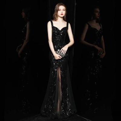 ドレス ロングドレス 黒ドレス スリット マーメイド 結婚式 披露宴 フォーラム セクシー 大人可愛い LF40