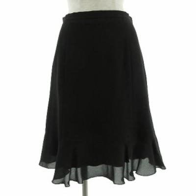 【中古】クイーンズコート QUEENS COURT スカート ひざ丈 フレアー ブラック 黒 2 レディース