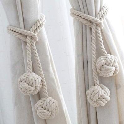 2個セット カーテンタッセル ロープ式 カーテン アクセサリー カーテン留め飾り ロープタッセル 紐 締め 房掛け バックル ホルダー おしゃれ