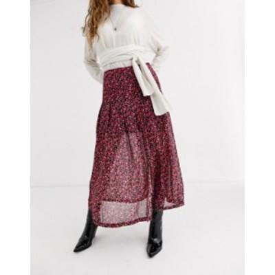 オールセインツ レディース スカート ボトムス AllSaints drea cherry blossom midi skirt PINK