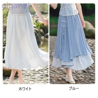 ナチュラルスカート大きいサイズ綿麻ロング丈ふんわり無地旅行ファッションミモレ丈女性