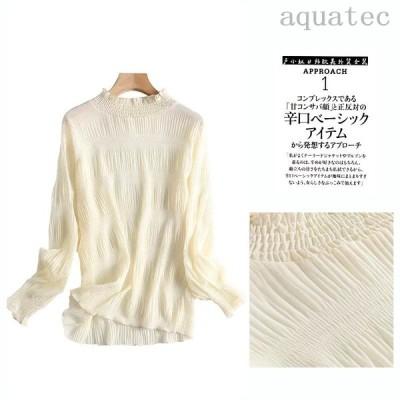 タートルネックプルオーバーシャツ 女性用シャツ 無地 かわいいスタイル ワイルド
