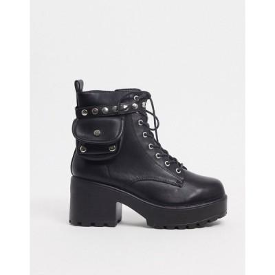 コイ フットウェア レディース ブーツ&レインブーツ シューズ Koi Footwear vegan lace up pocket boot in black Black