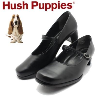 ハッシュパピー レディース プレーントゥ パンプス ストラップ L-7241 Hush puppies クロ ブラック 日本製