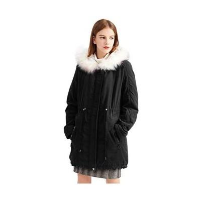 Sulliwayu レディース モッズコート 冬 アウター コート ジャケット 裏起毛 ミリタリーコート 中綿コート フード付き(ブラック M)