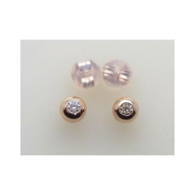 K18ピンクゴールド天然ダイヤモンド丸玉5ミリ0.10ct《新品》ケース 保証書付