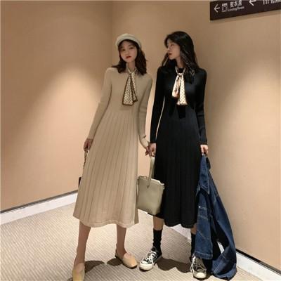 2020春💓新作💓韓国の人気💓 スリムフィット スリム ファッション 2020  ニットワンピース エレガント 中・長セクション 気質 百掛け カジュアル ロングスカート