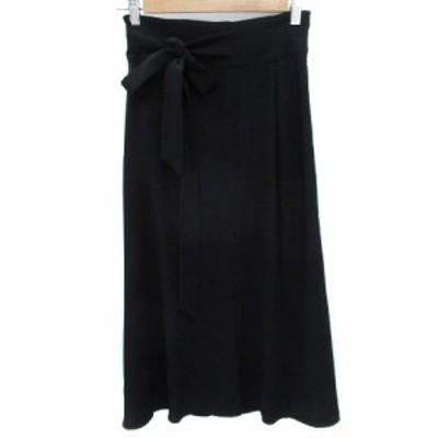 【中古】マックス&コー MAX&CO. スカート フレア ロング丈 マキシ丈 リボン 36 黒 ブラック /FF32 レディース