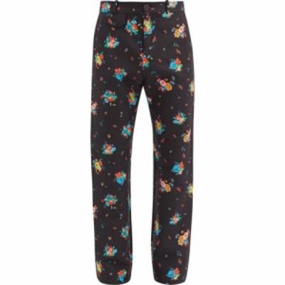 パコラバンヌ Paco Rabanne メンズ スラックス ボトムス・パンツ Floral-print cotton-blend straight-leg trousers Black