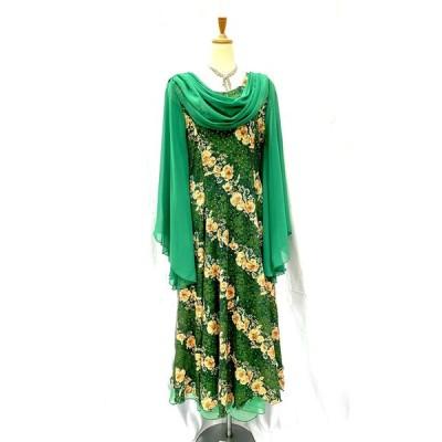 グリーン 緑 ドレープ衿 袖付き カラオケドレス 22533