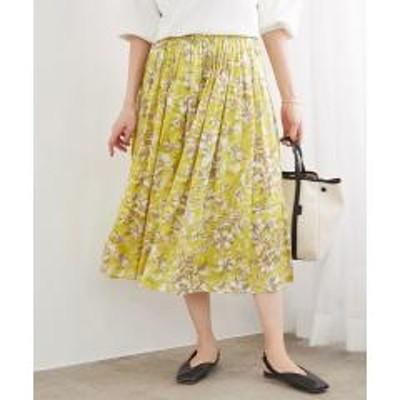 ロペ【洗える】フラワープリントサテンギャザースカート【お取り寄せ商品】