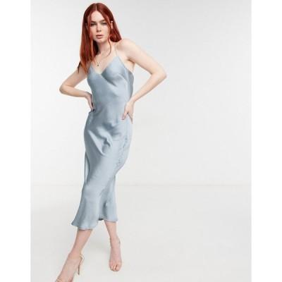 インザスタイル ミディドレス レディース In The Style x Lorna Luxe satin cami strap midi dress in teal エイソス ASOS