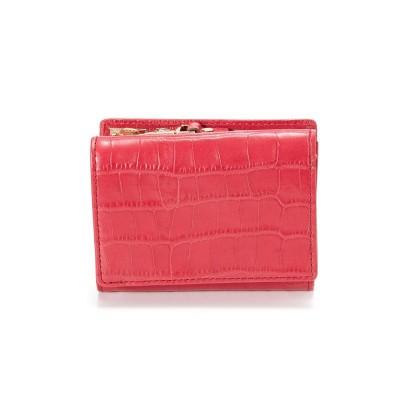 トプカピ TOPKAPI クロコ型押しレザー三つ折り財布 Cocco コッコ (マゼンタピンク)