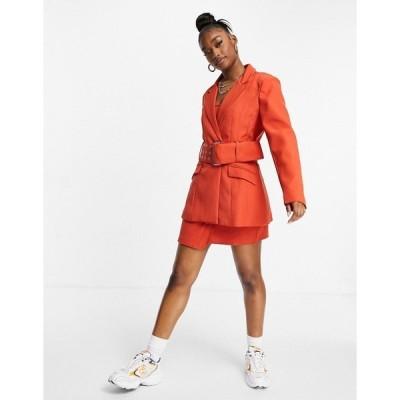 ミスガイデッド レディース ジャケット&ブルゾン アウター Missguided matching belted blazer in rust Orange