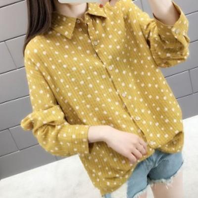 シャツ 2色 ブラウス 長袖 ロングシャツ ロング丈 ドット柄 水玉 ポルカドット 可愛い 大人 ガーリー ゆったり 羽織り P6065