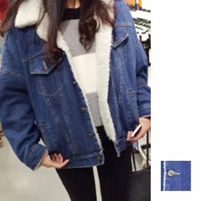 韓国 ファッション レディース アウター ブルゾン 秋 冬 カジュアル nalo3873  デニム 長袖 ミディアム 裏ボア Gジャン シンプル コーデ