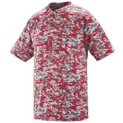 ユニセックス 衣類 トップス Augusta DIGI CAMO WICKING TWO-BTN JRSY Rd DIGI 2XL Tシャツ