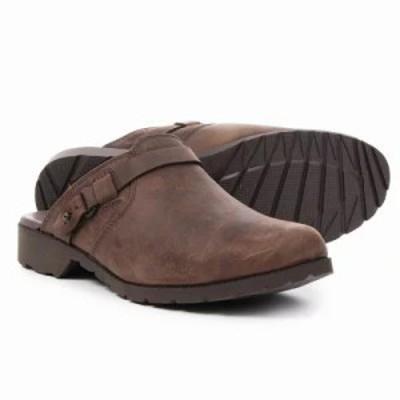 テバ スリッポン・フラット De La Vina Mule Shoes - Leather, Slip-Ons Dark Brown