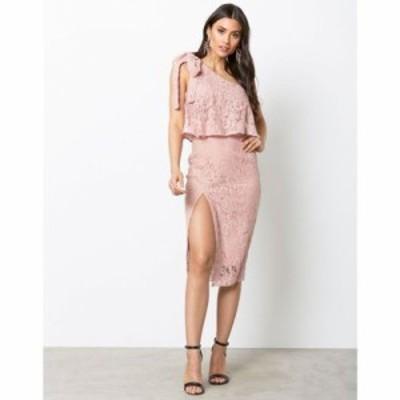 ミスガイデッド ボディコンドレス one shoulder lace dress Rose