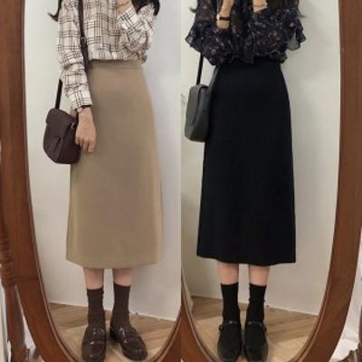 ミモレスカート 秋冬 韓国 ファッション レディース Iライン スカート オフィスカジュアル ブラウン 黒 ハイウエスト スカート かわいい